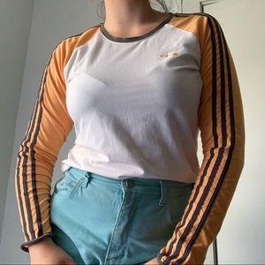 adidas long sleeve striped tee shirt